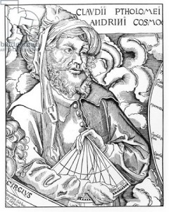 Ptolemy (Claudius Ptolemaeus) (c.90-168) holding a sextant (engraving) (b/w photo)